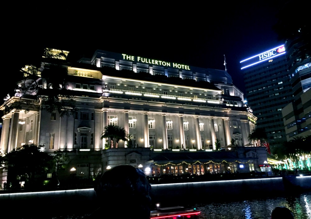 Fullerton Hotel, Singapore at night