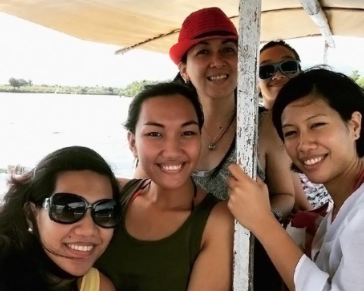 The Aureada ladies on the bangka