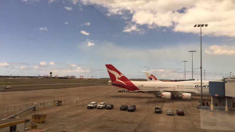 Qantas airplane on ground at airport