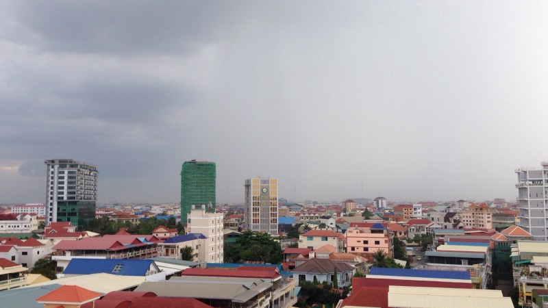 Cityscape view of Phnom Penh, Cambodia from the rooftop of my apartment