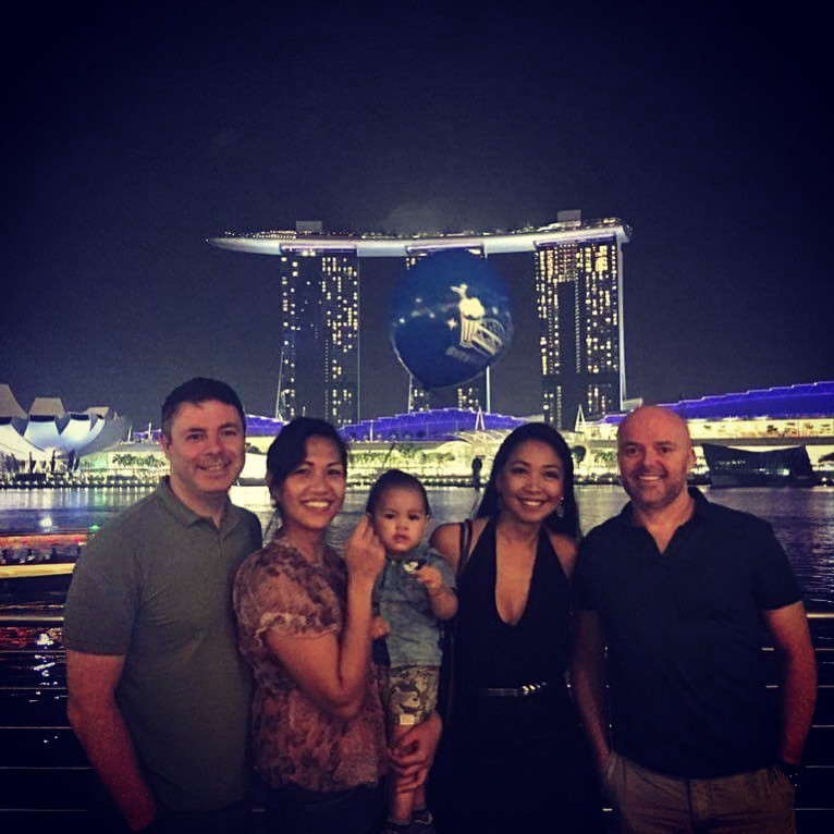 With our friends for an evening out in Singapore